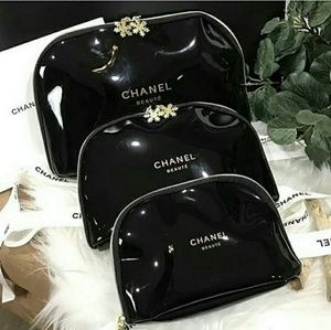Limited Chanel Cosmetic Snowflake Pouch 3 pcs Set